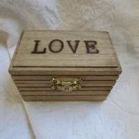 Rustic Wedding Ring BOx Gift Box Trinket Box Wedding Decor Stained box Wood burned Personalized