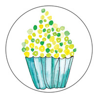 Watercolor Cupcake Stickers Green and Yellow  - 1 Sheet of 24