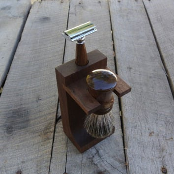 Shaving Set:  Men's Double Edge Safety Razor, Brush, and Stand -Walnut Wood