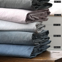 Natural 4 Solid Colors Washed Cotton Twin / Queen Size Bedding Set