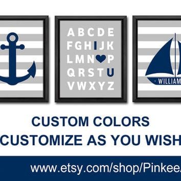 personalized boy nursery ideas nautical baby nursery print I love you alphabet nursery anchor sail boat nursery kids name kids room art