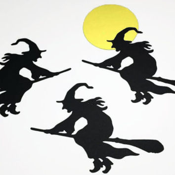 "12 Large Black Witch Die Cuts, Witch With Broom, Black Witch Punch, Halloween Witch Die Cut (3x3 5/8"")"