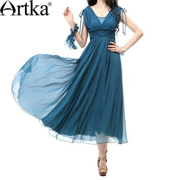 Artka Women Elegant Greek Style Slim Fit Plunging V-neck Shirring Empire Cinched Waist Draping Swing Hem Dress LA10237X