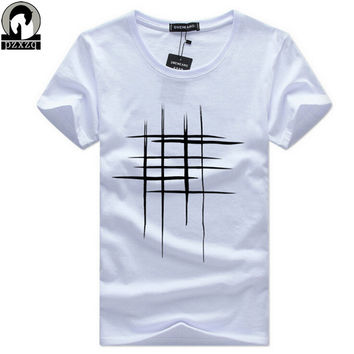 Simple creative design line cross Print T Shirts Men's New Arrival Summer Style Short Sleeve Men t-shirt 2017 O-Neck Hip Hop Top