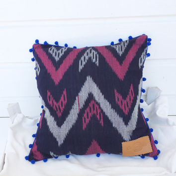"""Ikat Pillow case, square pillow, ikat fabric zigzag design, pillow in BLUE, PINK and GREY with pompom trim 16x16"""""""