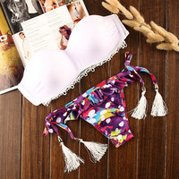Retro Dots Tassel Lace Bikini Set Beach Swimsuit Summer Gift 203