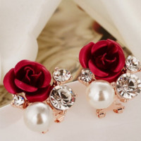 Fashion Stylish Elegant Women Cute Red Rose Silver Rhinestone Pearl Ear Stud Earrings