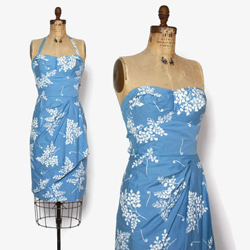 Vintage 50s Hawaiian Sarong Dress / 1950s Convertible Strap Print Rockabilly Cotton Halter Strapless Sun Dress