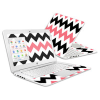 Skin Decal Wrap for HP Chromebook 14 (2014) Cover Skins Black Pink Chevron