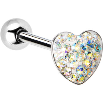 Dome Aurora Heart Gem Barbell Tongue Ring | Body Candy Body Jewelry