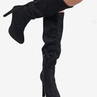 Steve Madden Suede Knee High Stiletto Boots (Black)