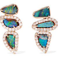 Kimberly McDonald - 18-karat rose gold, opal and diamond earrings