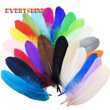 360pcs High Quality Dyed Loose Goose Feather Colorful Wedding Bouquet Decoration Craft for Home Decor 15-20cm IF56