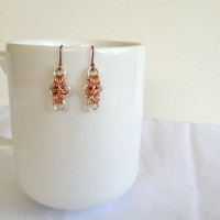 Minimalist Chainmail Earrings - Handmade, Copper, Silver Plated, Chain Mail, Simple, Dainty, Sleek, Modern and Edgy, Neutral, Metallic