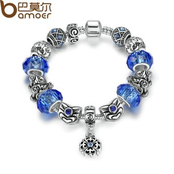 Trendy Strand Bracelet Silver Color Blue Glass Beads Snake Chain Bracelet with Charms & Beads for Women PA1485