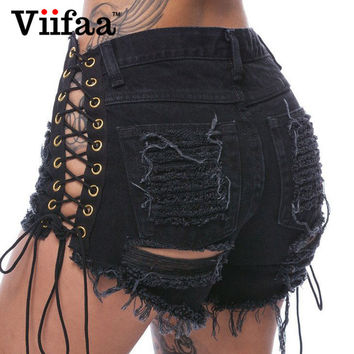 Viifaa Summer Hole Denim Jeans Shorts 2017 Women Sexy Lace Up Hollow Out Ripped Shorts High Waist Black Short