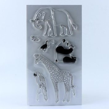 CLEAR STAMPS DIY Scrapbook Card album paper craft silicon rubber roller transparent stamp Elephant 11x20cm