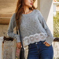 White Grey Drop Shoulder Hollow Out Sweater