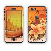 The Coral Colored Floral Pelical Apple iPhone 6 Plus LifeProof Nuud Case Skin Set