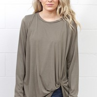 Long Sleeve Get Twisted Modal Top {Mocha}