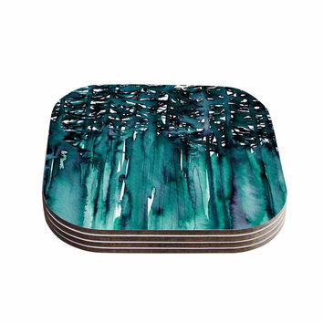 "Ebi Emporium ""Forest Through The Trees 5"" Teal White Coasters (Set of 4)"