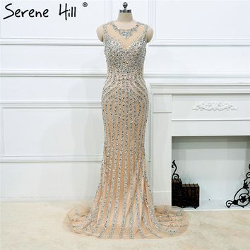 New Luxury Diamond Sequined Mermaid Evening Dresses Sparkly Evening Gown