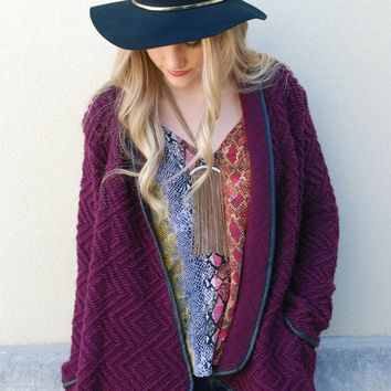 Waverly Grey - Quilted Cardigan - Burgundy
