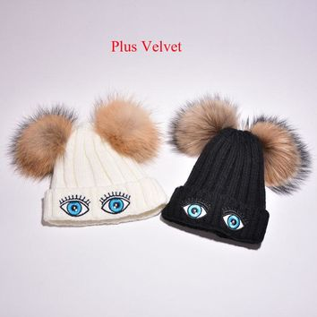 New Fashion Casual 15cm Pompom 100% Raccoon Fur Winter Baby Girl Boys Hat Child Beanies Pokemon
