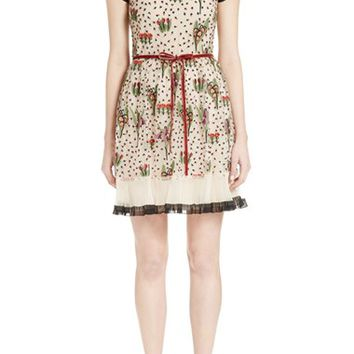 RED Valentino Blooming Garden Embroidered Tulle Dress | Nordstrom