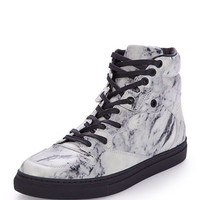 Balenciaga Marbled Leather High-Top Sneaker