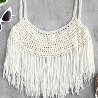 Fringed Crochet Cami Top