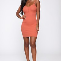 In A Snap Ribbed Mini Dress - Rust