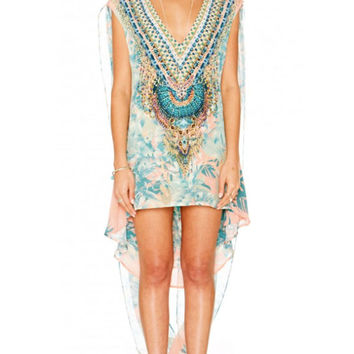 Camilla Deep V Mini Dress with Cape in Garden of Dream