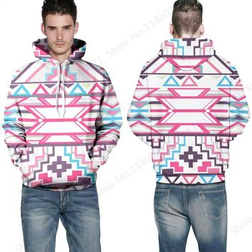 Geometric Abstraction Skateboard Hoodies Pink Striped Bohemia Hooded Sweatshirts Long Sleeve Hip Hops Sweatshirts Autumn Leisure