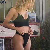 HBKN bikinis set black swimwear high waisted bottom halter monokini crop tops bikini push up thong bikini swimming suit swimwear