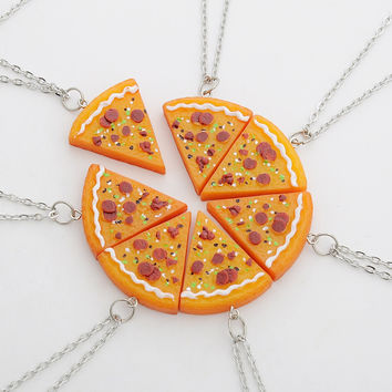 7pcs New Vintage Pizza Necklaces Ancient Gold Silver Pizza Food Charm Pendant Statement Necklace Sweater Chain Best Friends Gift
