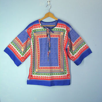 70s Blouse Boho Hippie Soft Patchwork Smock Top