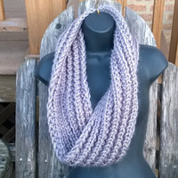 Ready to ship - Infinity Scarf in Silver Grey - Women's Accessories - Knit360five