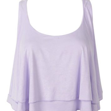 Purple Layered Twisted Back Crop Top