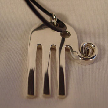 A Spoon Rings Plus Beautiful Fork Elephant Necklace Pendant on a Black Cord or Thin Chain e17