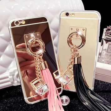 New Luxury CZ diamond Soft TPU Mirror Style Phone Back Cover With Colorful Tassels Phone Case For iPhone 7 For iphone7 Plus