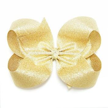 Metallic Gold Hair Bow, Gold Glitter Hair Bows for Girls, 4 inch Boutique Bow, Classic Hairbow for Women, Girls, Baby