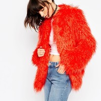 ASOS Coat in Mongolian Faux Fur