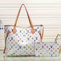 Louis Vuitton Women Fashion Leather Satchel Tote Shoulder Bag Handbag  Set Two-Piece