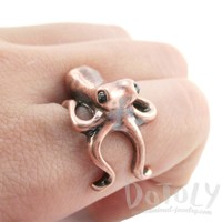 Octopus Wrapped Around Your Finger Shaped Ring in Copper   US Sizes 4 to 8