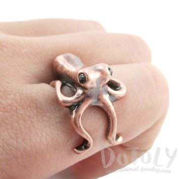 Octopus Wrapped Around Your Finger Shaped Ring in Copper | US Sizes 4 to 8