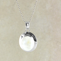 Oval Gemstone Pendant Necklace in Sterling Silver