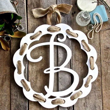 Ribbon Wood Circle Initial Door Hanger - A