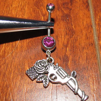 Fuchsia Belly Ring with Rose Pistol Dangle