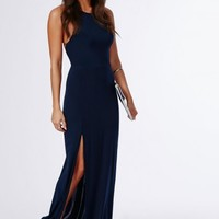 Missguided - Slinky Side Split Maxi Dress Navy